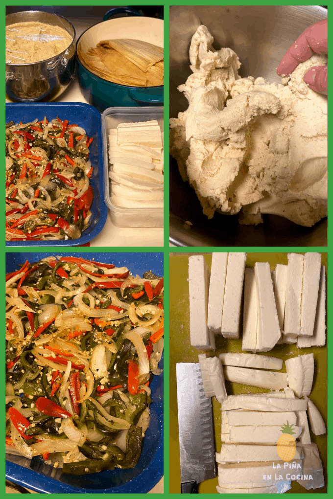 collage of filling used with masa