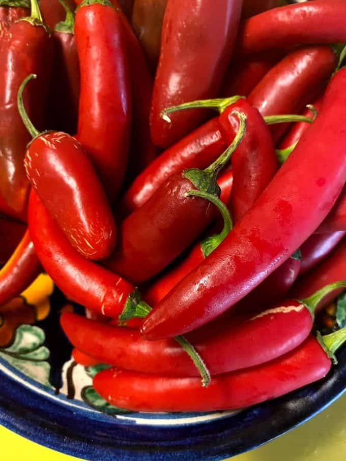 fresh red chile peppers
