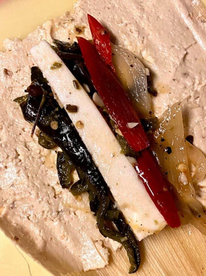 roasted poblano, queso fresco and queso fresco filling close up