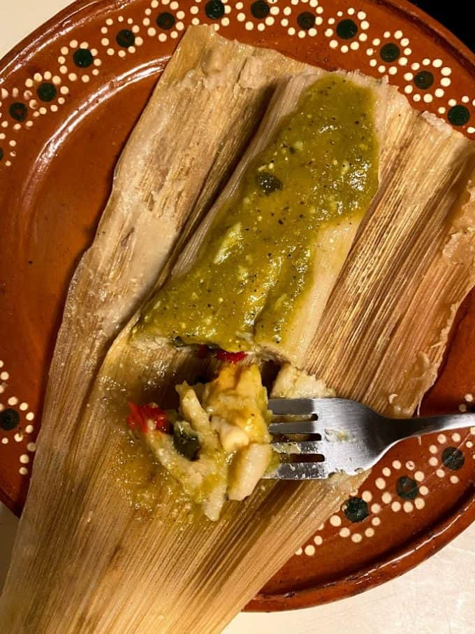 top view of chile and cheese tamal