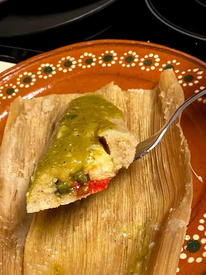 chile and cheese tamal close up