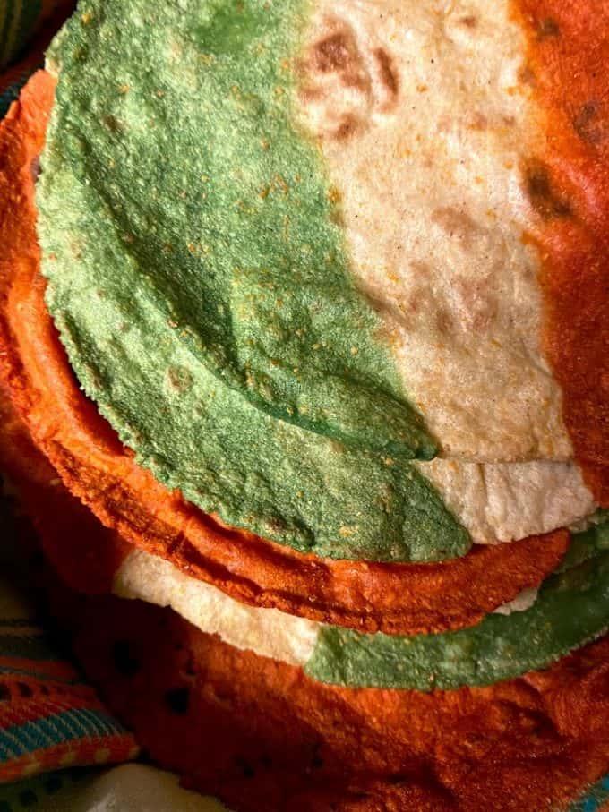 close up tri colored corn tortillas