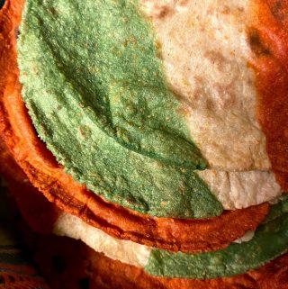 tri colored corn tortillas up close