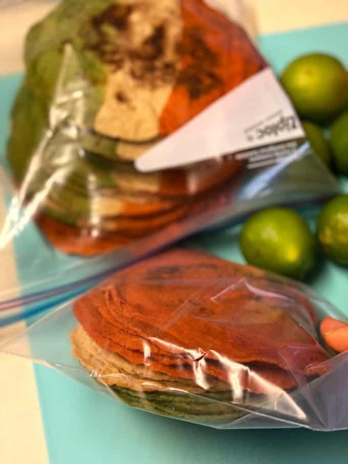 tortillas in plastic storage bags