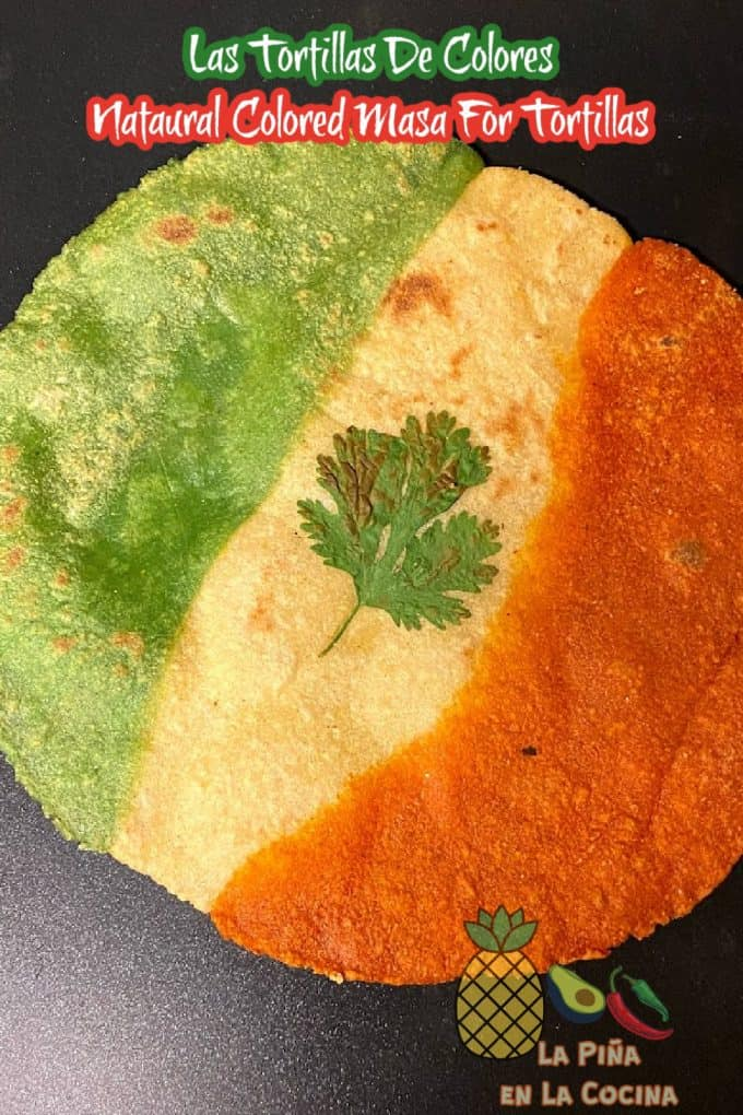 green , white and red corn tortilla