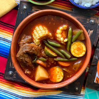 top view of mole de olla in large bowl